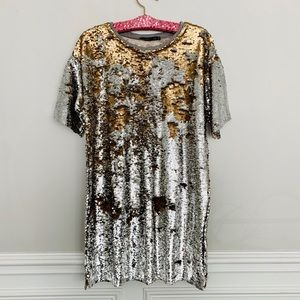 Bershka ❤️ Up Down Sequin T Shirt Dress ❤️ Small